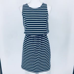 LOFT Knit Navy & White Striped Dress With Pockets